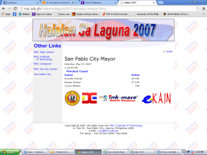 Halalan sa Laguna 2007 website hosted by MSC